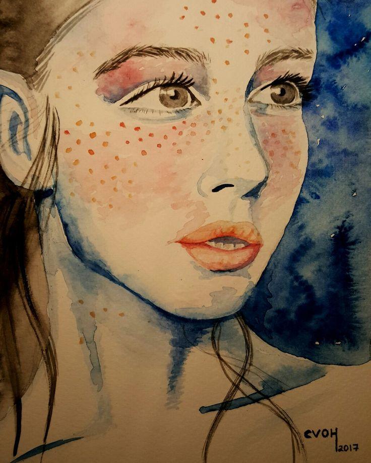 #CVOH#acuarela #watercolor #aquarelle #woman #Chile #2017 #Septiembre #Panul