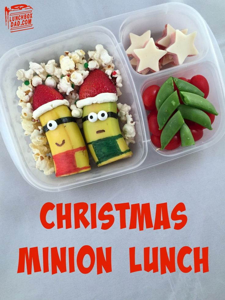 Christmas Minions Lunch Despicable Me. The recipe is so easy and fun. You could even make it a stand alone snack!