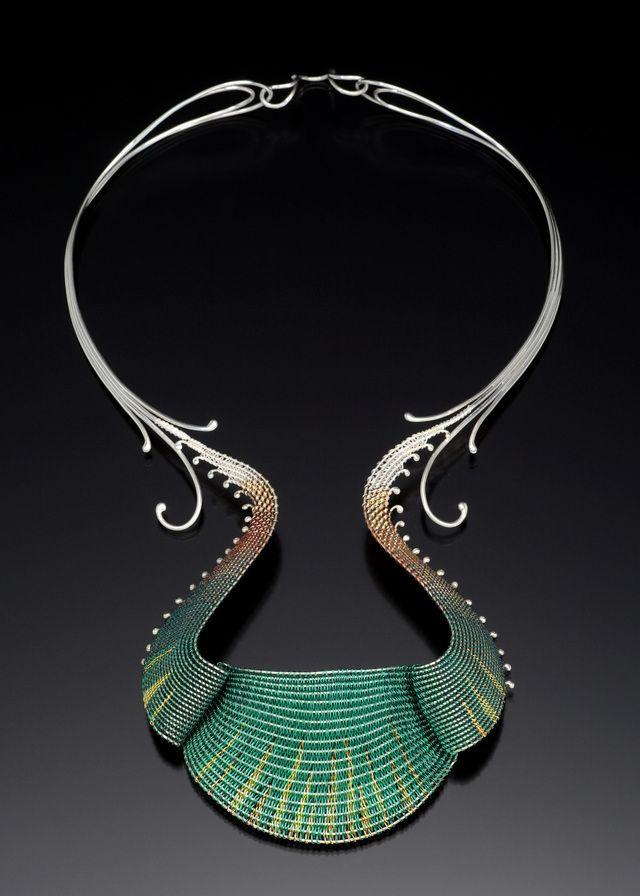 Mary Hu blue choker, woven wire