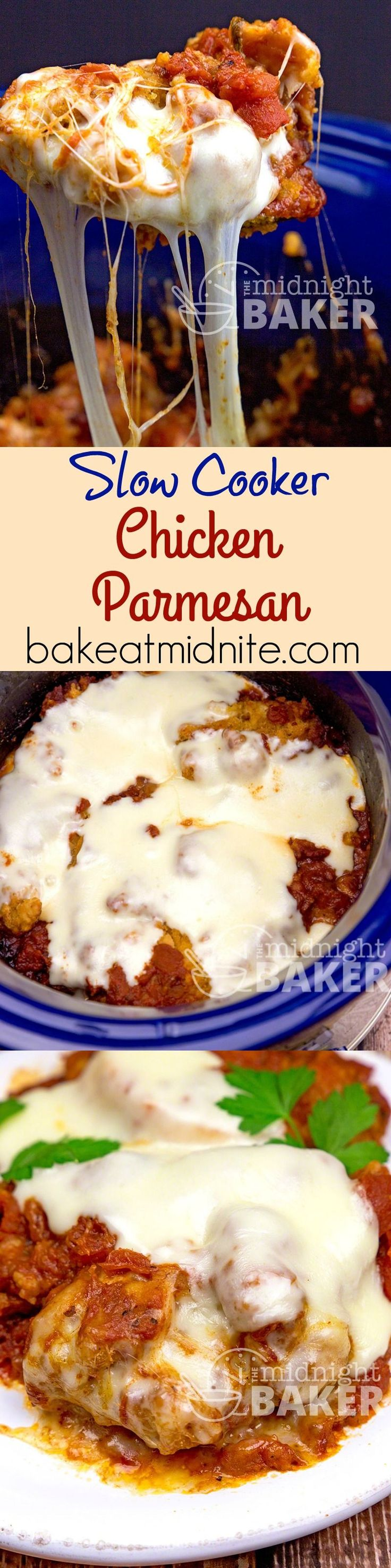 Everyone's favorite Italian dish, chicken parmesan, adapted for the slow cooker.