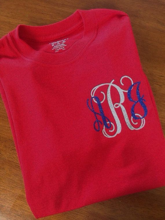 4th of July monogrammed tee, Fourth of July monogrammed Tshirt, red white and blue monogram, glitter monogram