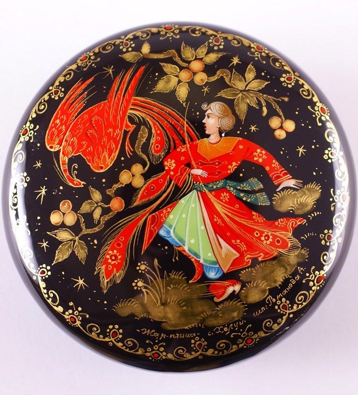 Russian lacquer miniature from the village of Kholuy.