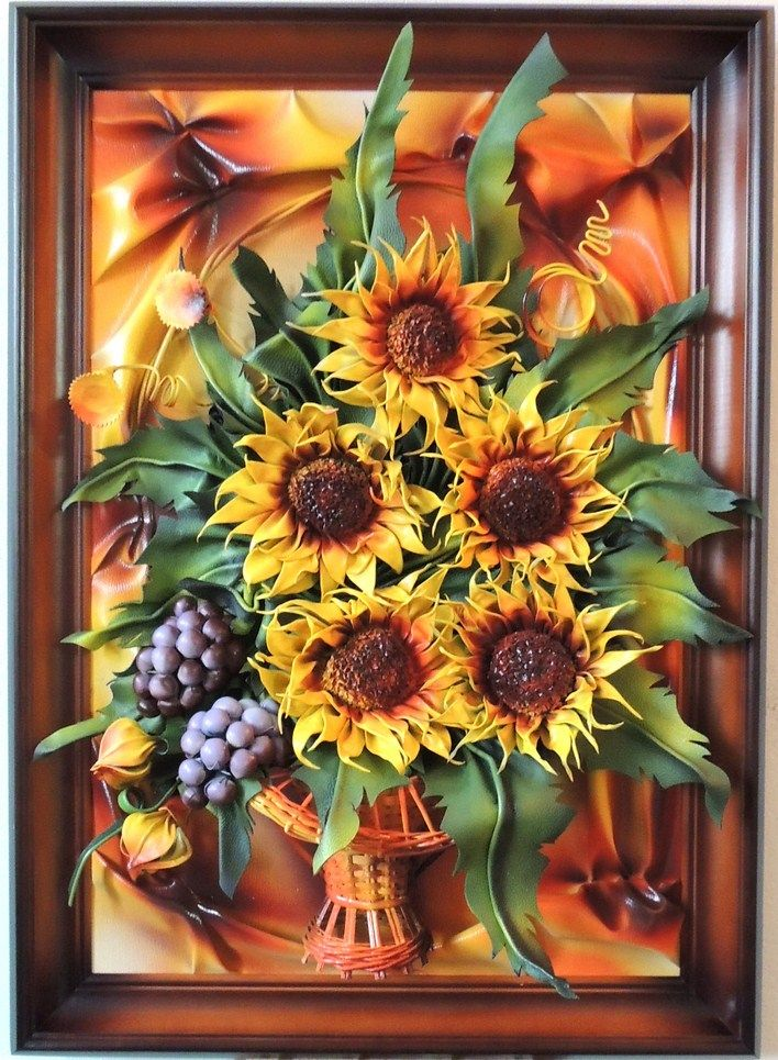 Handmade Leather Sunflowers & Grapes  www.makmarketplace.com   Size: 89cm x 64cm  Colors: Yellow, Orange, Burgundy, Green  Frame: Solid Wood, Brown with Orange Staining  Material: Genuine Leather  https://plus.google.com/communities/107298104499962573861 https://www.facebook.com/pages/MAK-Marketplace/331889076912354 http://www.pinterest.com/MAKMarketplace/