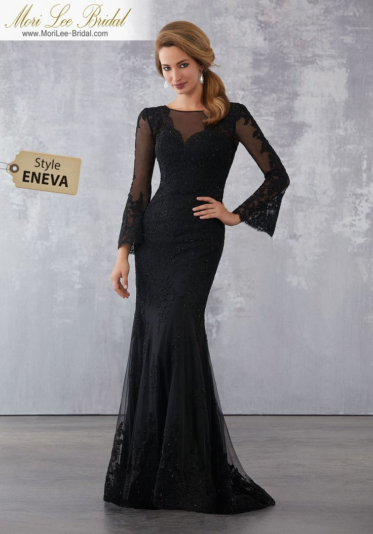 Style ENEVA Lace and Net Social Occasion Dress with Beaded Lace Appliqués  Beaded Lace Appliqués on Net Over Chantilly Lace. Colors Available: Silver, Champagne, Black