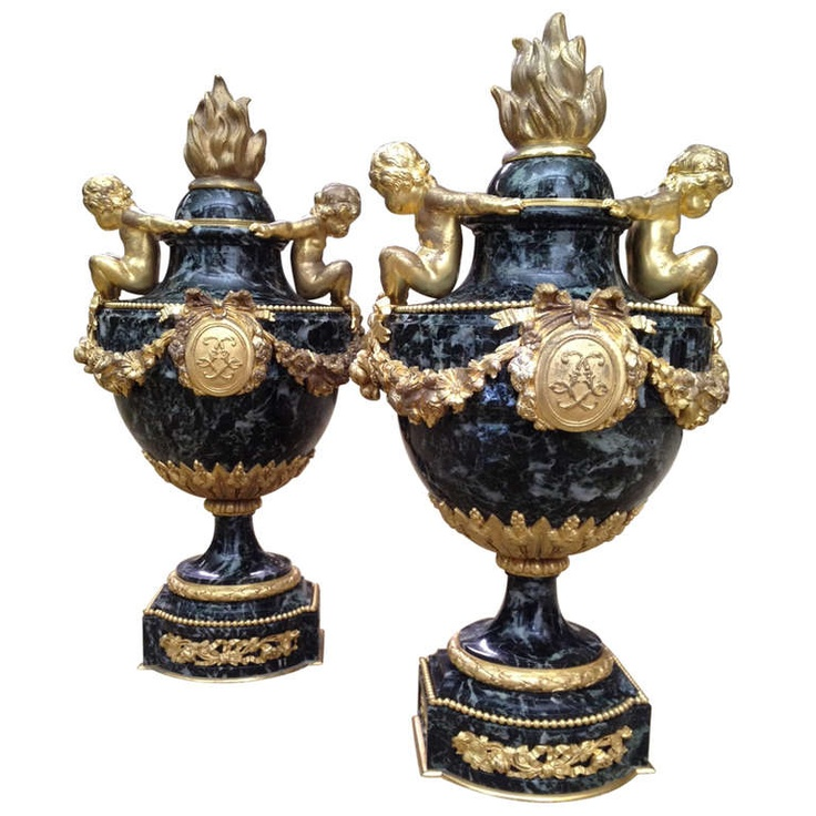Beautiful French Figural Gilt Bronze Mounted Marble Cassoulettes 19th c