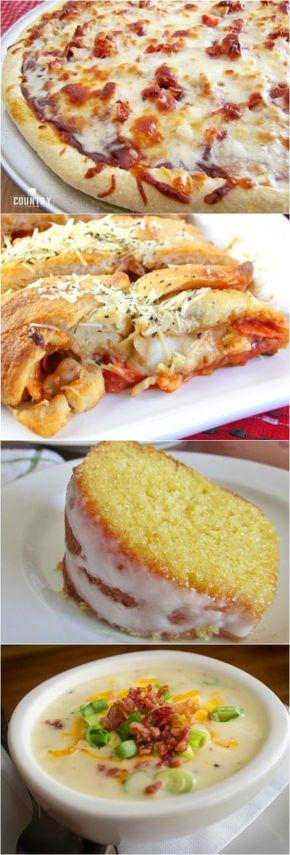 Meal Plan Sunday featured recipes include: BBQ Chicken Pizza, Easy Stromboli, 7Up Cake, Loaded Baked Potato Soup, Crock Pot Chicken and Gravy and Hobo Packets