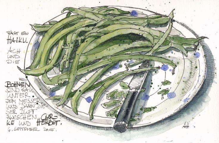 Grüne Bohnen auf einem Bollhagen-Teller. Feder/Tusche mit Wasserfarbe koloriert.
