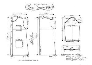 Esquema de modelagem de Jaleco tamanho GG (50/52).