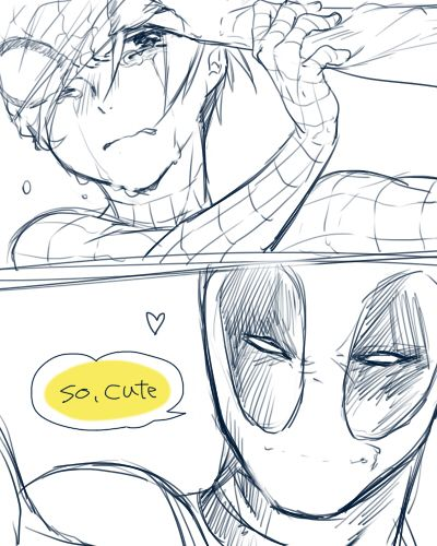"""*they fighting and spidey goes down, realy hard. He's crying because he don't wanna show his face and he have a lot of pain* Deadpool: So, cute. And now you going to die!! CUTE!!!!"""""""