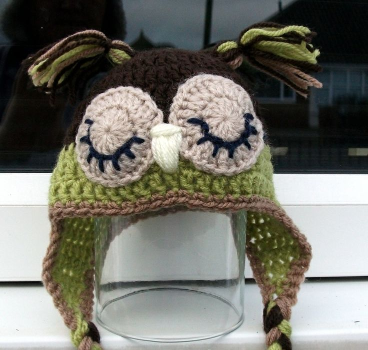 one of my owl hats, new born size