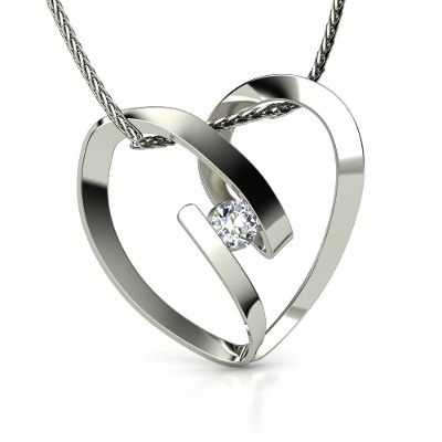 14K White Gold Necklace with Diamond | Capture My Heart Pendant | Gemvara