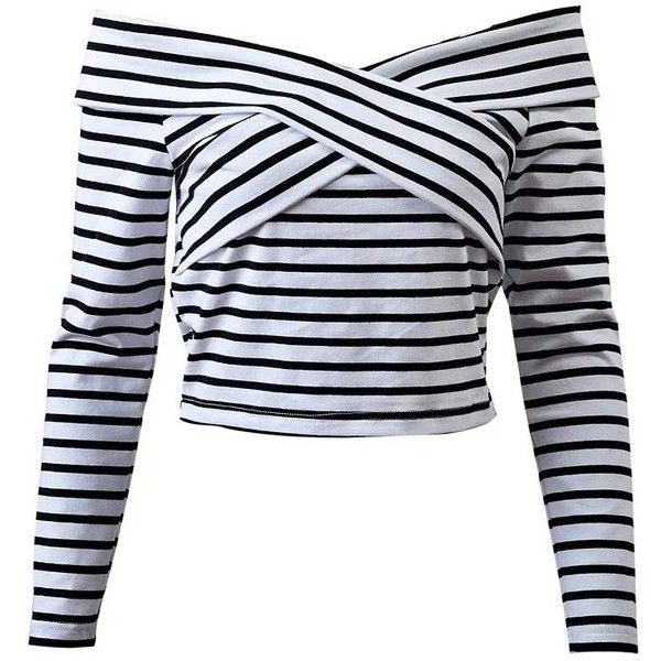 Striped Off Shoulder Front Criss T-Shirt found on Polyvore featuring tops, t-shirts, shirts, crop top, striped t shirt, off the shoulder t shirt, striped tee, off the shoulder tee and stripe t shirt