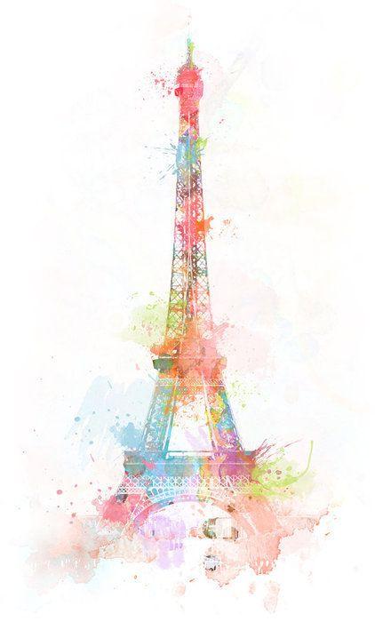 watercolor paintings paris | ... , eiffel tower, paint, paris, watercolor - image #326243 on Favim.com