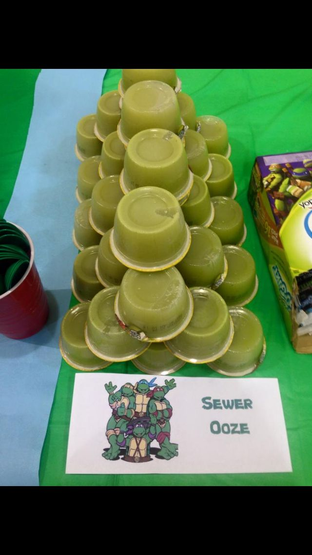 Ninja Turtle Birthday Party decorations, food and games. Sewer oooz (pear applesauce)