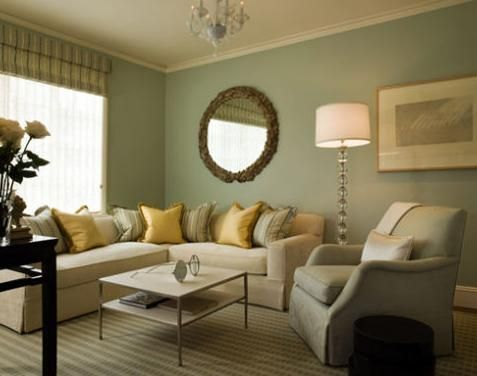 Sage green & yellow.  Gorgeous and elegant would make a great sitting room.