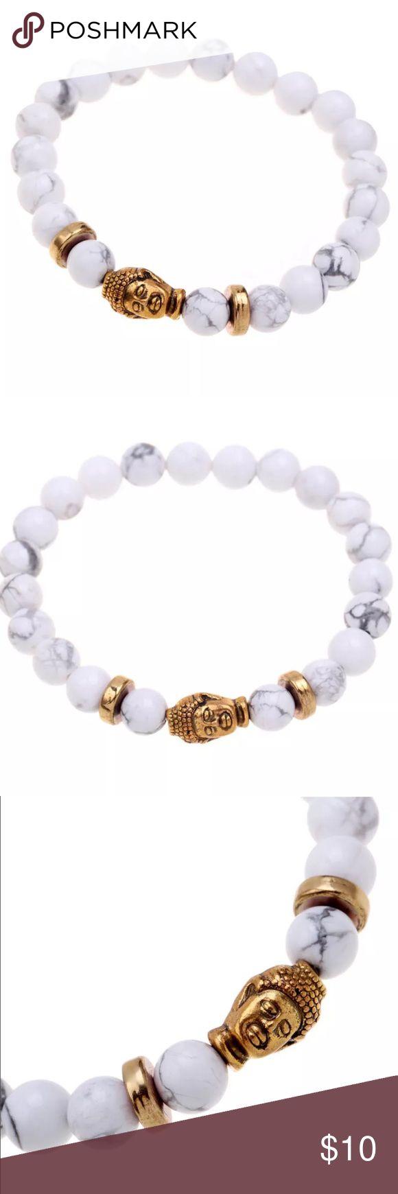 WHITE MARBLE BEADED BUDDHA BRACELET Marble beads and gold buddha head. Stretch bracelet one size fits all Jewelry Bracelets