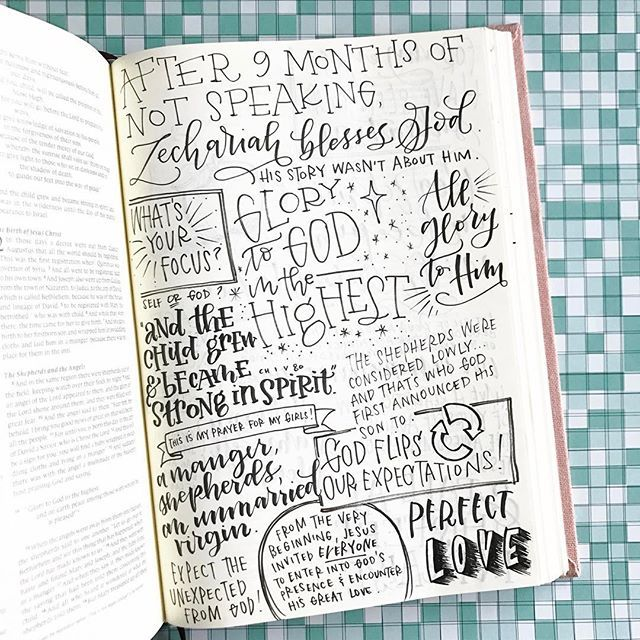 More and more every day I'm realizing that God is constantly telling me to flip my expectations. Almost every page of the Bible has that as an underlying theme (except for that whole page about who begat who ). Pen: Tombow Fudenosuke hard nib  Interleaved Bible