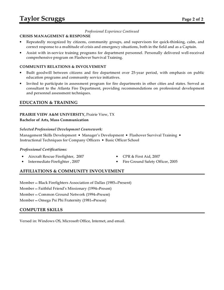 Fire Chief Cover Letter