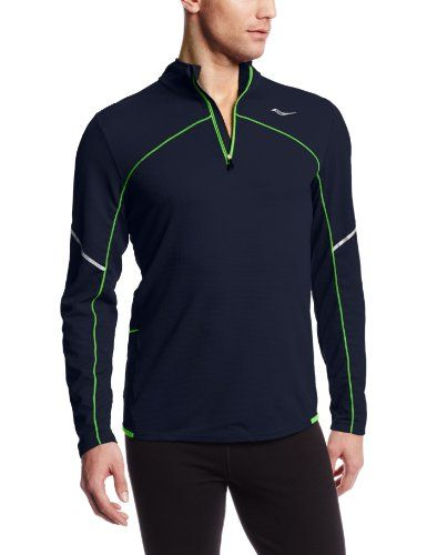 """Saucony Men's Transition Sportop Top, Navy/Acid Green, Large. 8"""" front contrast color zipper. Zippered back storage pocket. Long, lean fit with extra back length for coverage. Reflective tape at biceps and contrast color hem binding."""