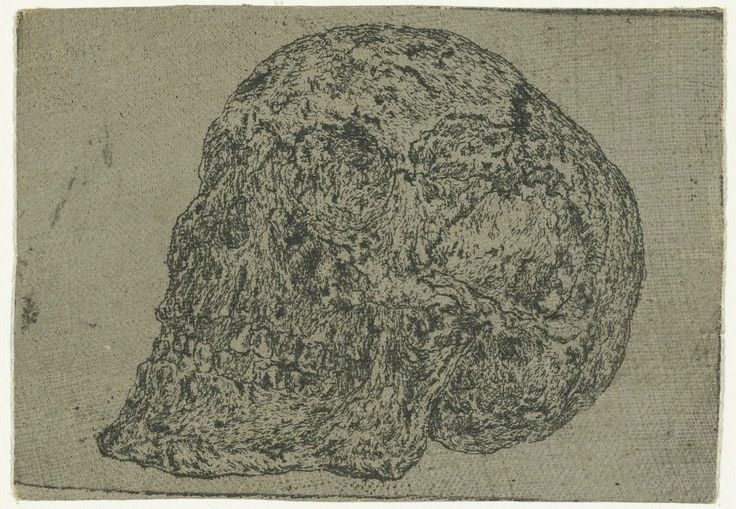 Hercules Segers (Dutch, ca. 1590–ca. 1638), Skull, ca. 1618-22. Line etching printed in black on cotton with a gray ground; unique impression, 2 15/16 × 4 3/16 in. (7.4 × 10.6 cm). Rijksmuseum, Amsterdam; on loan from the City of Amsterdam, collection Michiel Hinloopen (1619–1708), 1885 (inv. no. RP-P-H-OB-866)