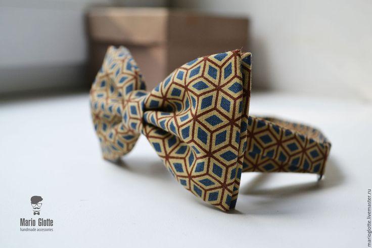 Купить Галстук бабочка синий, коричневый орнамент на бежевом фоне - галстук-бабочка