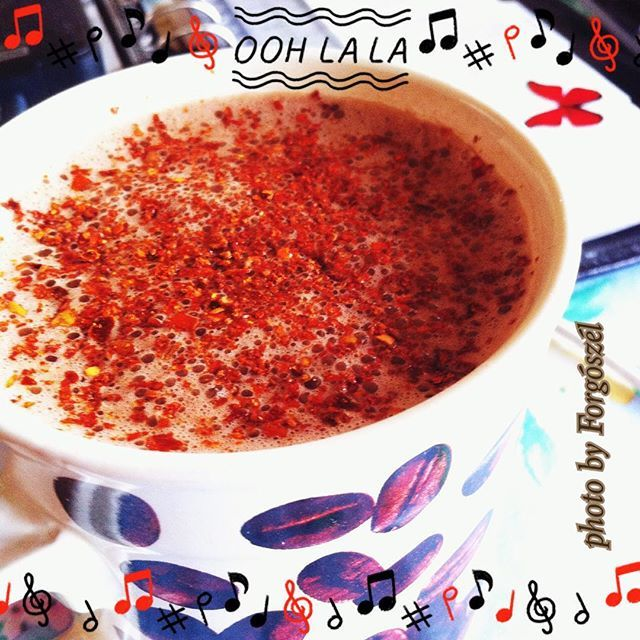 #fall 's first #hotchocolate  with a little #baileys and #chiliflakes topping…