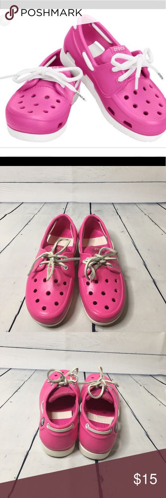 Crocs Beach Line Boat Lace Pink and white Size J 2 Crocs Beach Line Boat Lace Pink and white Size J 2. They are in great preowned condition.  The boat shoe with a stay-on, lace-up fit. The Croslite material is incredibly light, and unlike traditional leather styles it can actually get wet without worry. Nautical design and style with a Crocs comfort twist. CROCS Shoes Sandals & Flip Flops