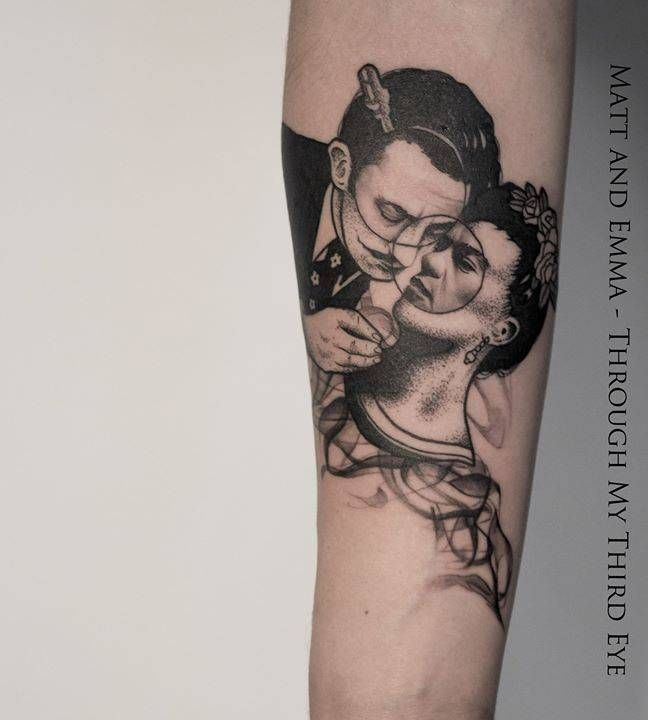 Salvador Dalí and Frida Kahlo tattoo on the right inner forearm. A collaboration by Matt Pettis and myself today. I had so much fun :) Thank you for Pedro for allowing us to do this piece for you!
