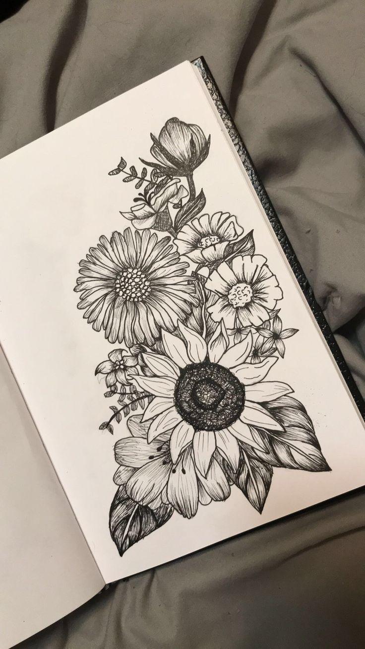 Passionsblume über Sonnenblume und Mohn auf der rechten Seite mit Lavendel #la