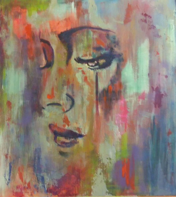 painting colorfull colours acryl hobby art schilderij schilderen womans face gezicht kleurrijk groot doek 90 x 90