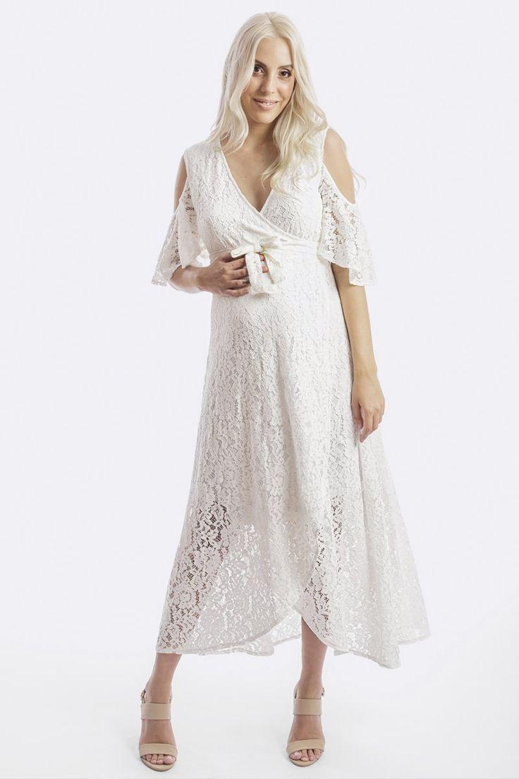 Aria Lace Maternity Dress - White – Maive & Bo