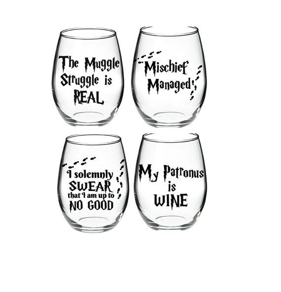 Harry Potter inspired 15 oz wine glass set of 4  The vinyl used is a high performance, self adhesive, calendared vinyl with a glossy finish
