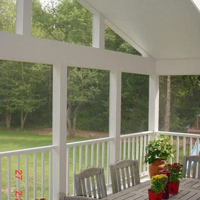 Screened porch with open gable end and closed beam for Open beam front porch