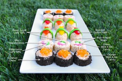 "Sweet ""sushi""..... of Rice Krispy treats, various candies, crushed Oreos. How deliciously sophisticated! lol"