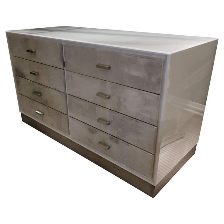 1stdibs Commode / Chest Of Drawers / Dresser – Lacquered Parchment 1970 Italian Mid-Century Modern Steel, Wood, Parchment Paper