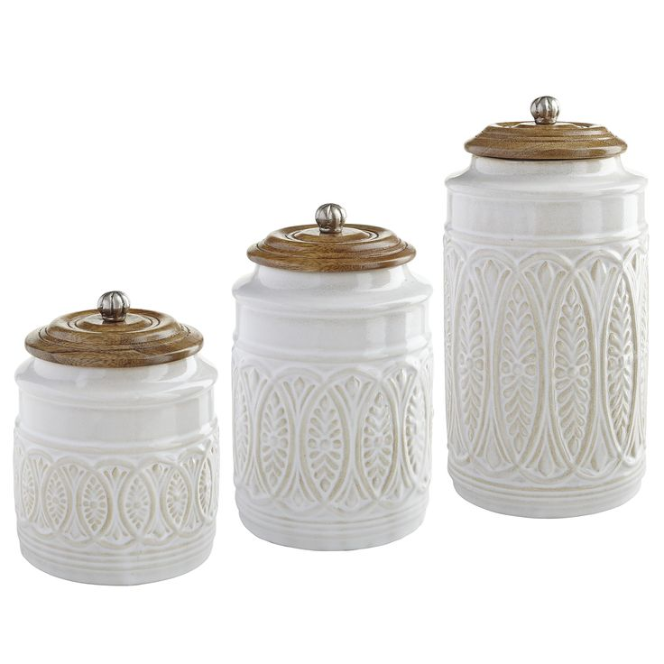 Farmhouse Kitchen Canister Sets: Natural/White Ivory Farmhouse Canisters