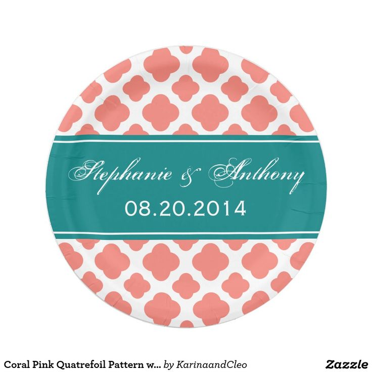 Coral Pink Quatrefoil Pattern with Teal Wedding 7 Inch Paper Plate  sc 1 st  Pinterest & 113 best Wedding Paper Plates images on Pinterest | Wedding paper ...