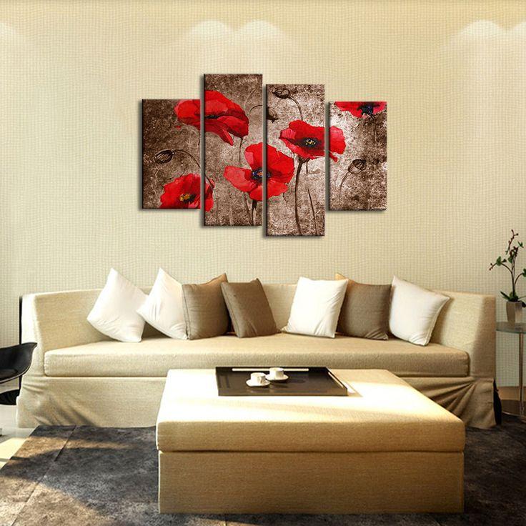 Quadri con fiori rossi dipinti a mano olio su tela con for Quadri con papaveri rossi