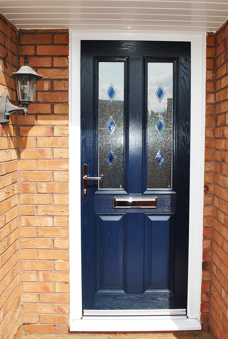 Blue Altmore Composite Door With Coloured Diamond Glass