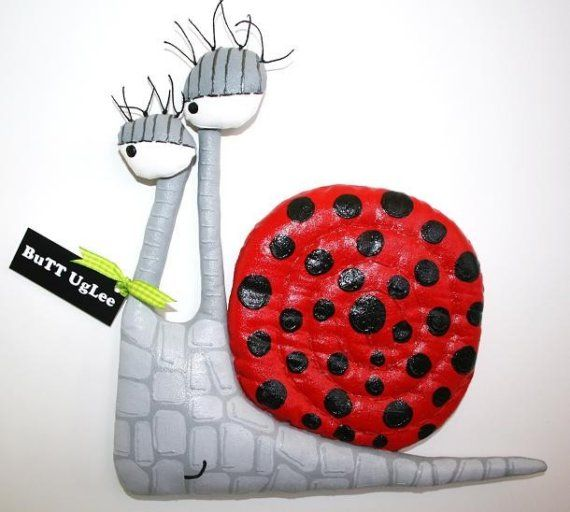 SnaiL named PeBBLes ... WhimsicaL WaLL ArT ...  Red by buttuglee