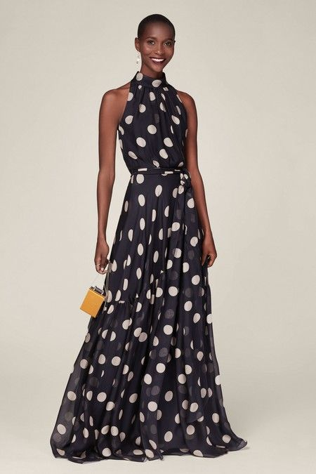 Sleeveless halterneck dress in fluid silk with a polka dot print and a ruffled hem. Concealed zip fastening at side and keyhole fastening at back. Polka Dot Wedding Dress, Dot Dress, Silk Dress, Dress Skirt, Vestidos Carolina Herrera, Ch Carolina Herrera, Cocktail Dress Classy Elegant, Classy Dress, Casual Dresses
