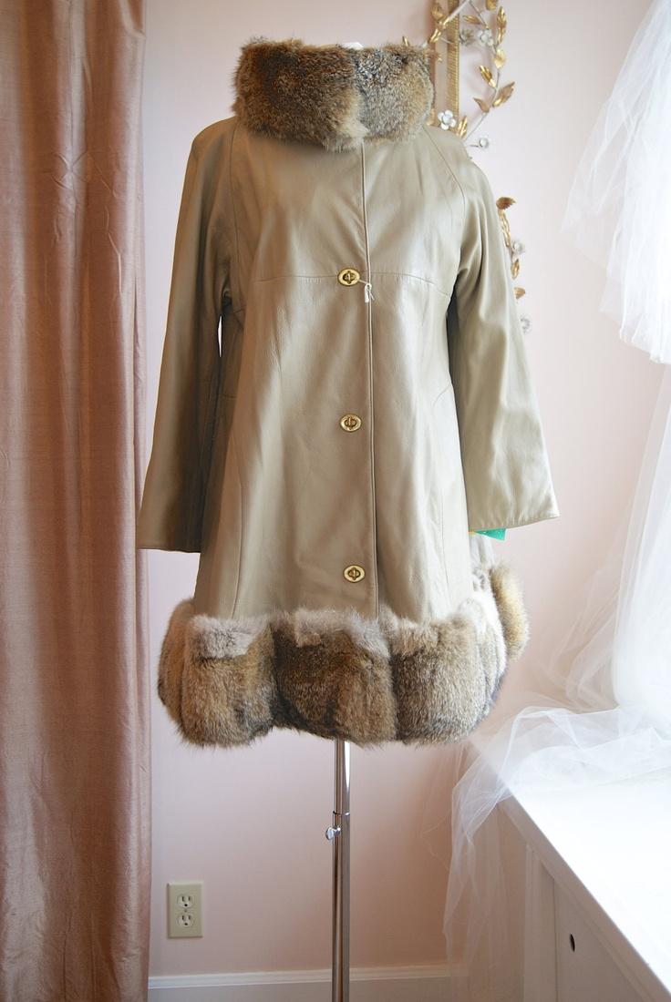 Vintage Bonnie Cashin Leather and Fur Coat  // Vintage 1960s  Leather Jacket With Fox Fur Trim NOS Bonnie Cashin