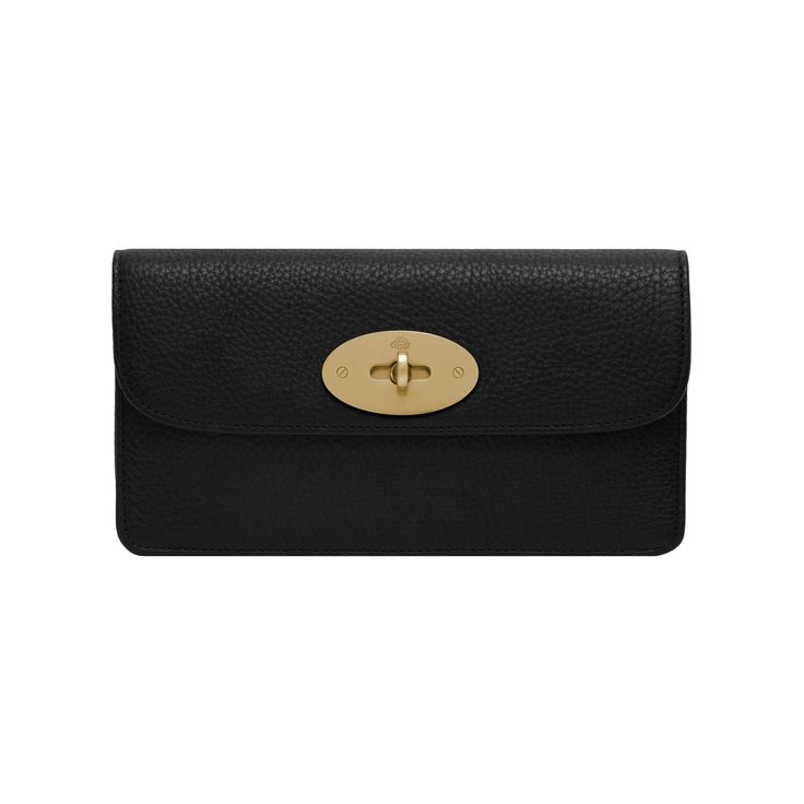 Mulberry - Long Locked Purse in Black Natural Leather With Brass