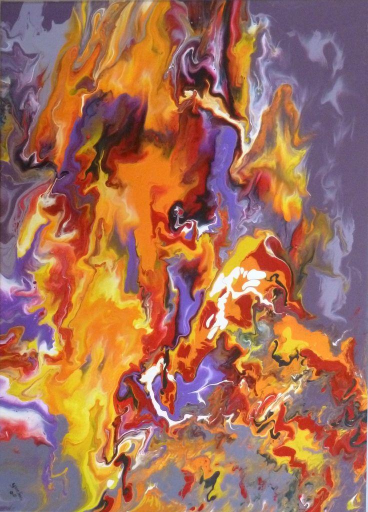 Peinture abstraite chute tableau abstrait peinture - Peinture gris violet ...