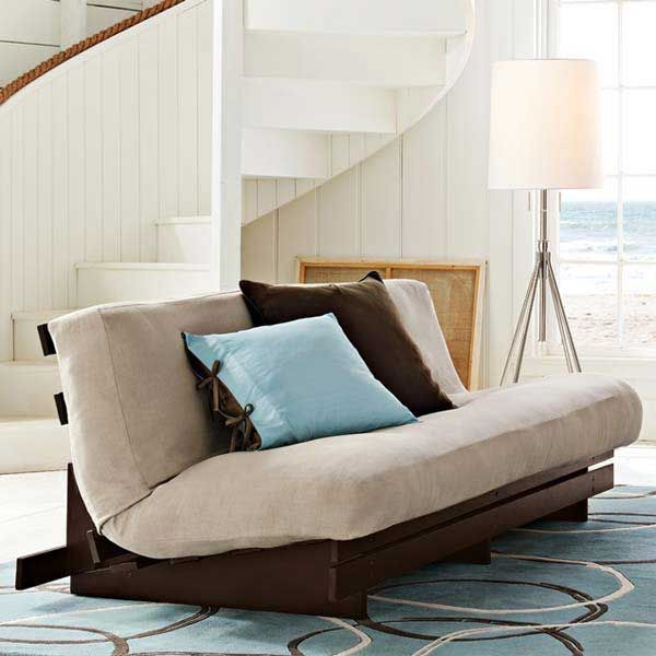 Comfortable Cheap Futons For Inspiring Home Furniture Ideas: White Cheap Futons Plus Cushions On Blue Carpet Plus Floor Standing Lamp For Living Room Decor Ideas