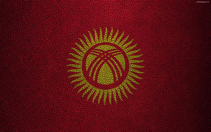 Download wallpapers Flag of Kyrgyzstan, 4K, leather texture, Kyrgyz flag, Asia, world flags, Kyrgyzstan