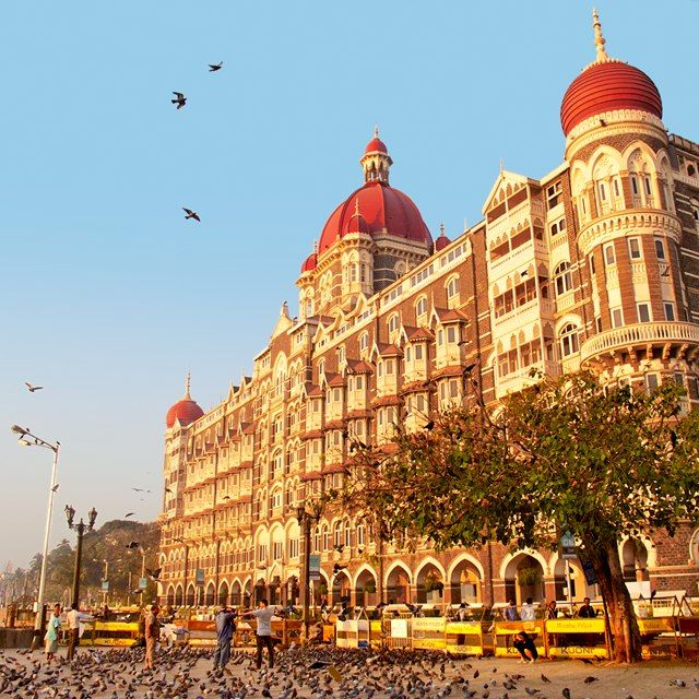 The seaside Taj Mahal Palace, in Mumbai. Get up early and take a stroll along the waterfront.