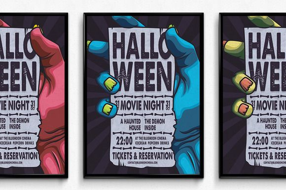 Halloween Movie Night Poster by SNK's on Creative Market