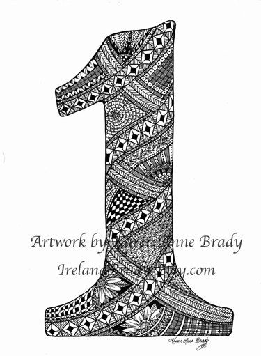 ACEO Number One Zentangle Inspired authorized art by IrelandBrady, $1.00