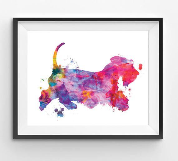 Colorful Cesky Terrier Watercolor Print Dog Print Dog